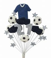 Football 21st birthday cake topper decoration blue shirt - free postage